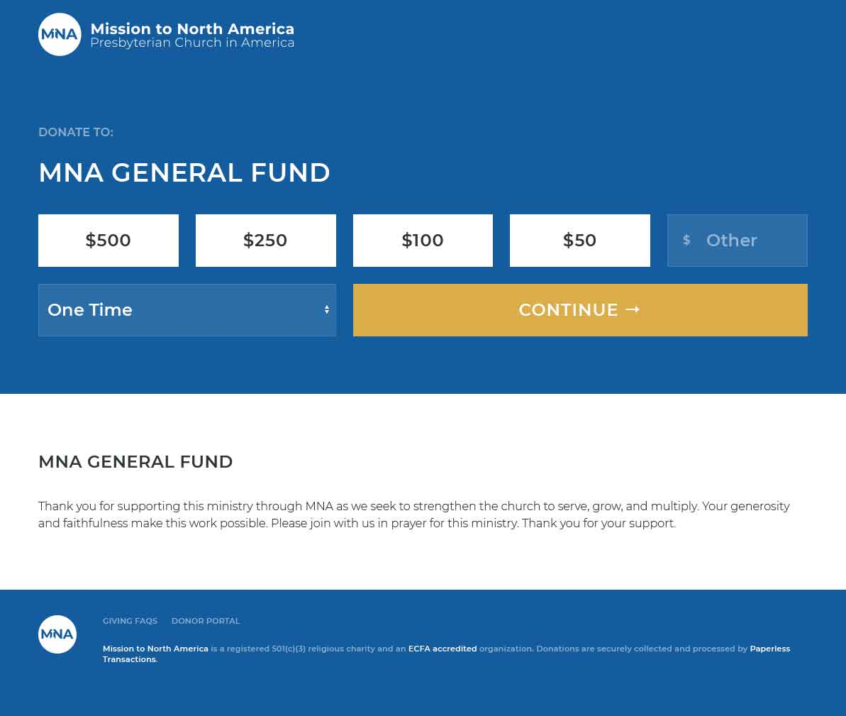 Default Donation Page